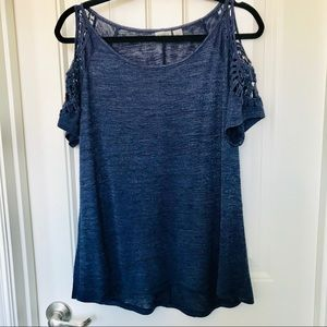 Cold Shoulder Embroidery Blue Short Sleeves Top